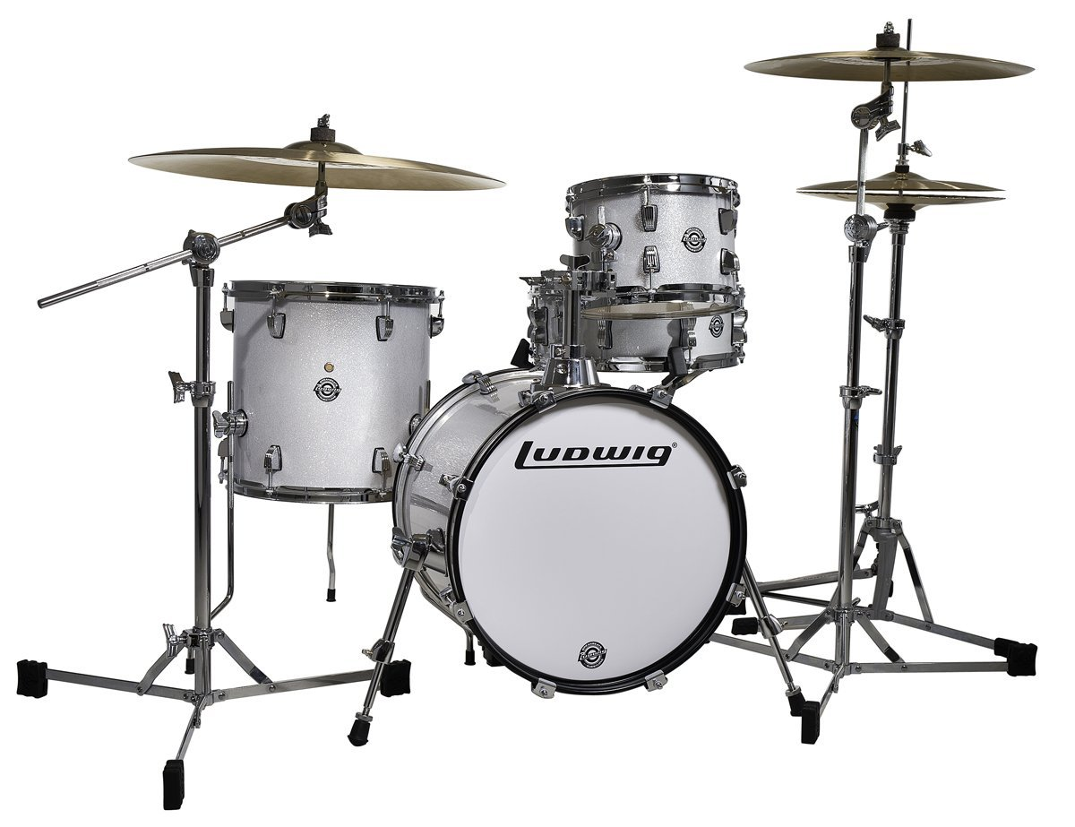 Ludwig Breakbeats White drum set with cymbals