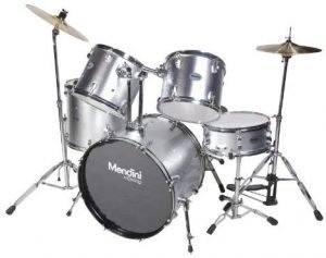 Mendini Mds 100 Complete Full Size 5 Piece Silver Drum Set