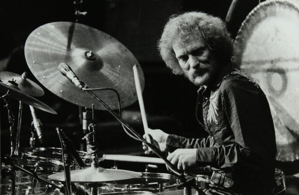 Drummer Ginger Baker Performing At The Forum Theatre, Hatfield, Hertfordshire, 1980. .