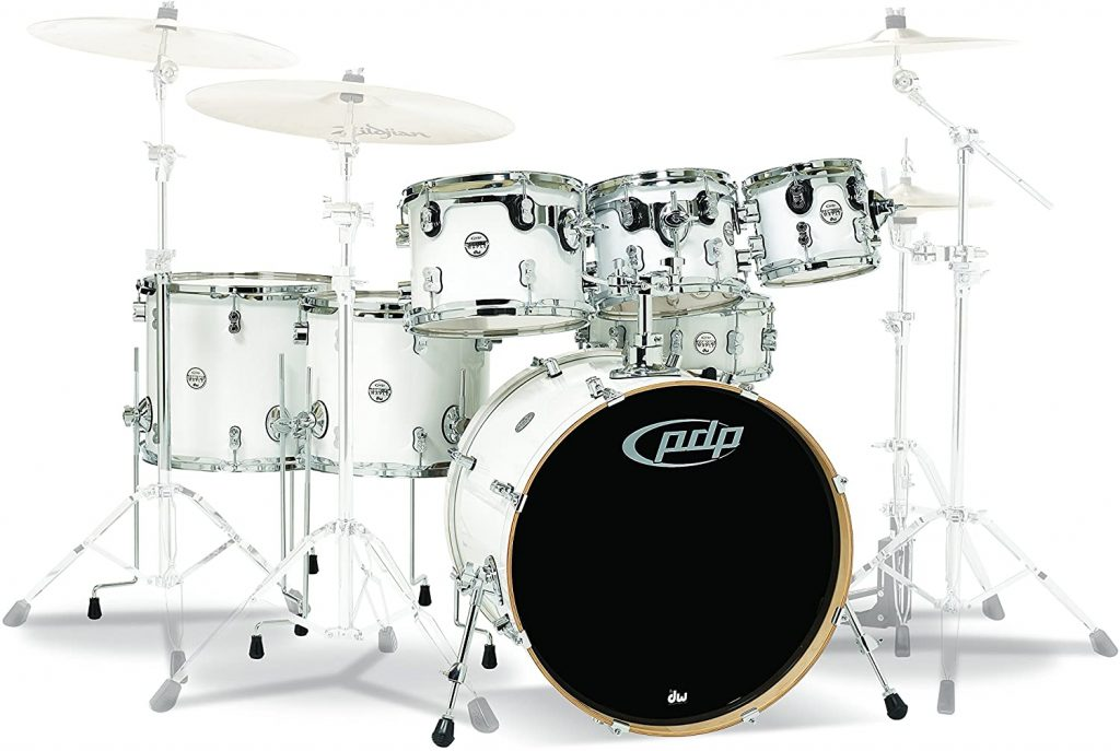 Pdp Dw 7 Piece Concept Maple Shell Pack Chrome Hardware Pearlescent White