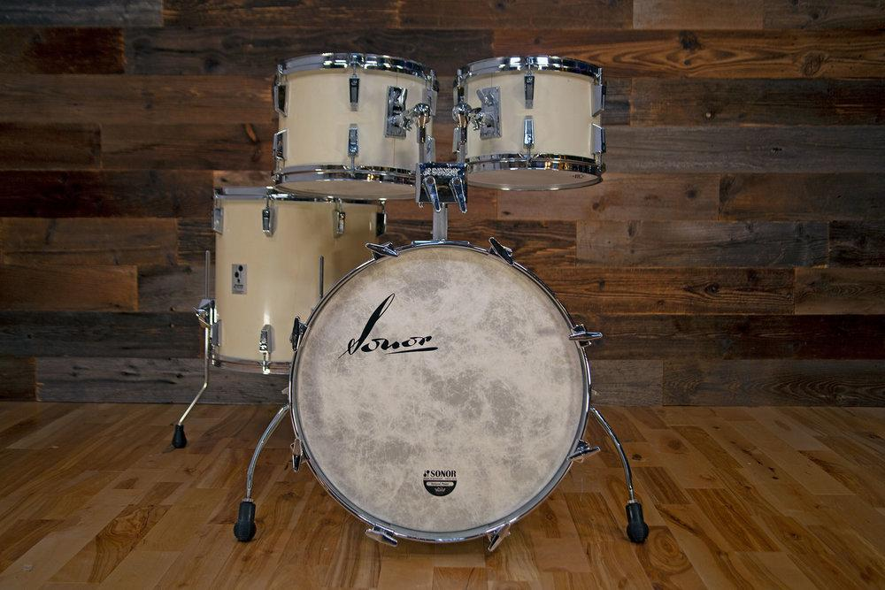Sonor Phonic Beech 4 Piece Drum Kit Rare Standard Sizes Gloss White Pre Loved