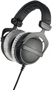 beyerdynamic dt 770 pro 80 ohm over ear studio headphones in black. enclosed design wired for professional recording and monitoring
