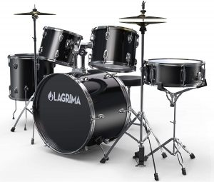 lagrima 22 inch 5 piece full size drum set with stand cymbals hi hat pedal adjustable drum stool and 2 drum sticks for adult or kidsblack
