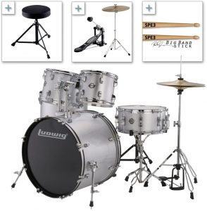 Ludwig Accent Drive Series Lc175 Complete Drum Package With Cymbals Hardware Drum Throne Chain Drive Pedal And Sticks Silver Foil