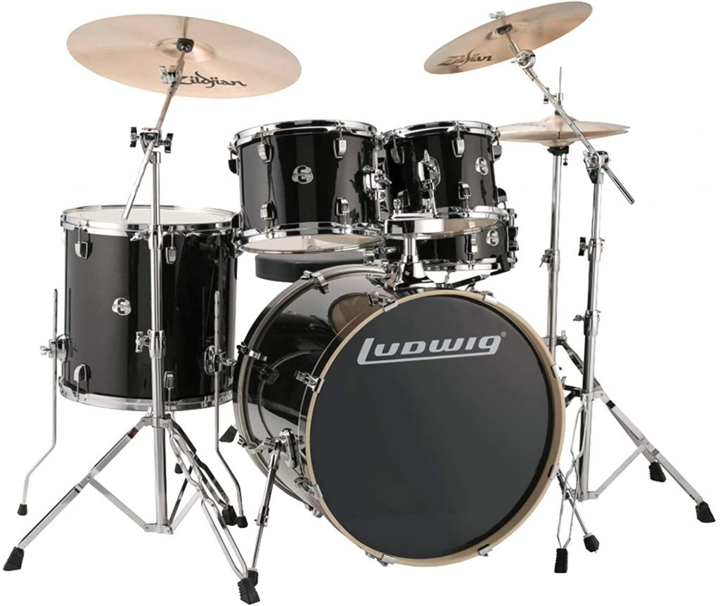 Ludwig Element Evolution Lcee220 5 Piece Complete Drum Set With Zildjian Cymbals Black Sparkle
