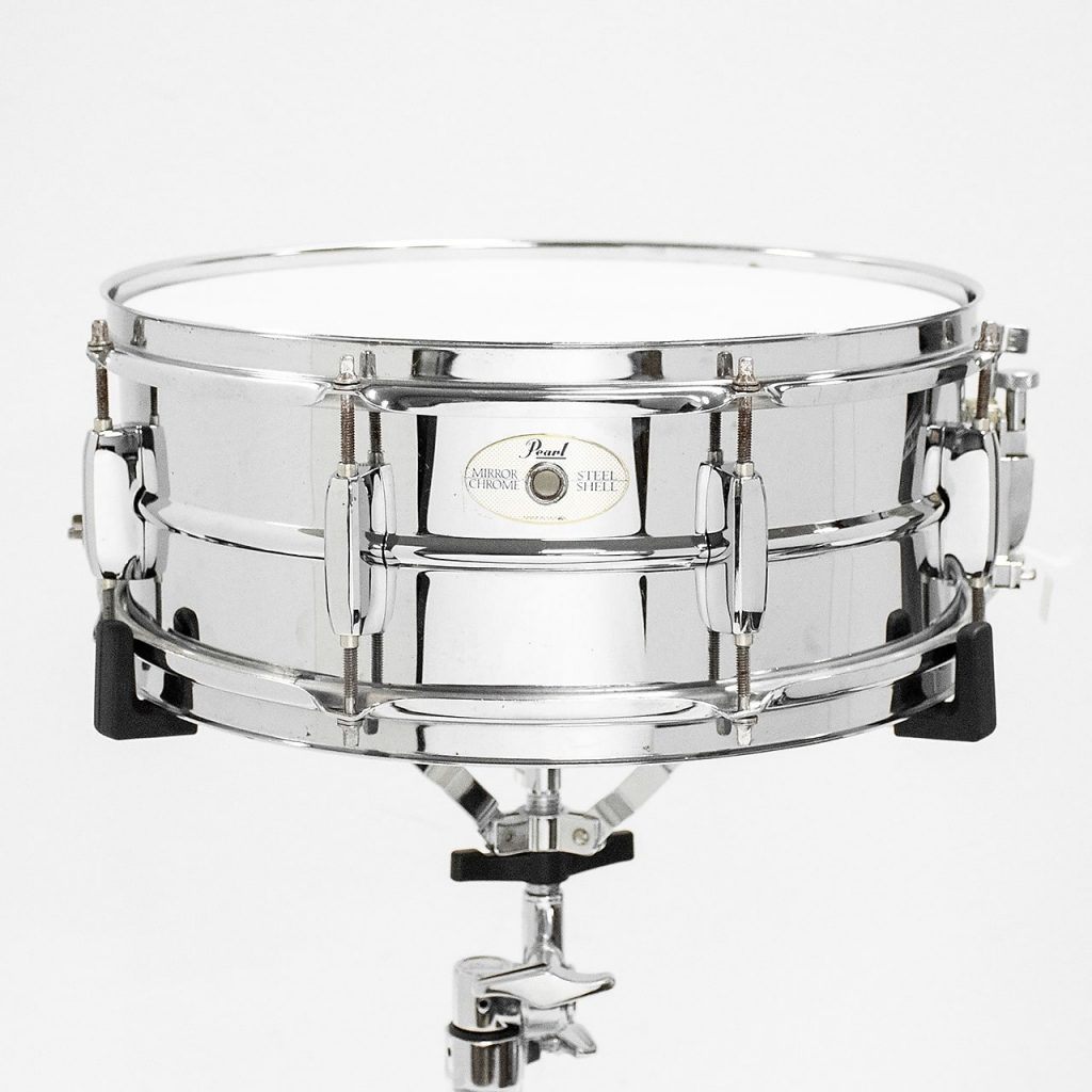 pearl mirror chrome steel shell snare