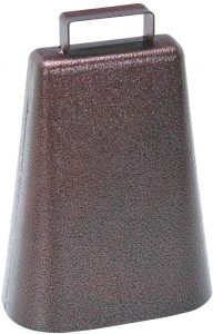 steel cowbell with handle and antique copper finish