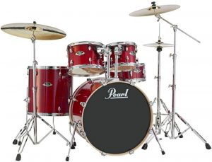 pearl export lacquer exl725s c246 5 piece new fusion drum set with hardware, natural cherry