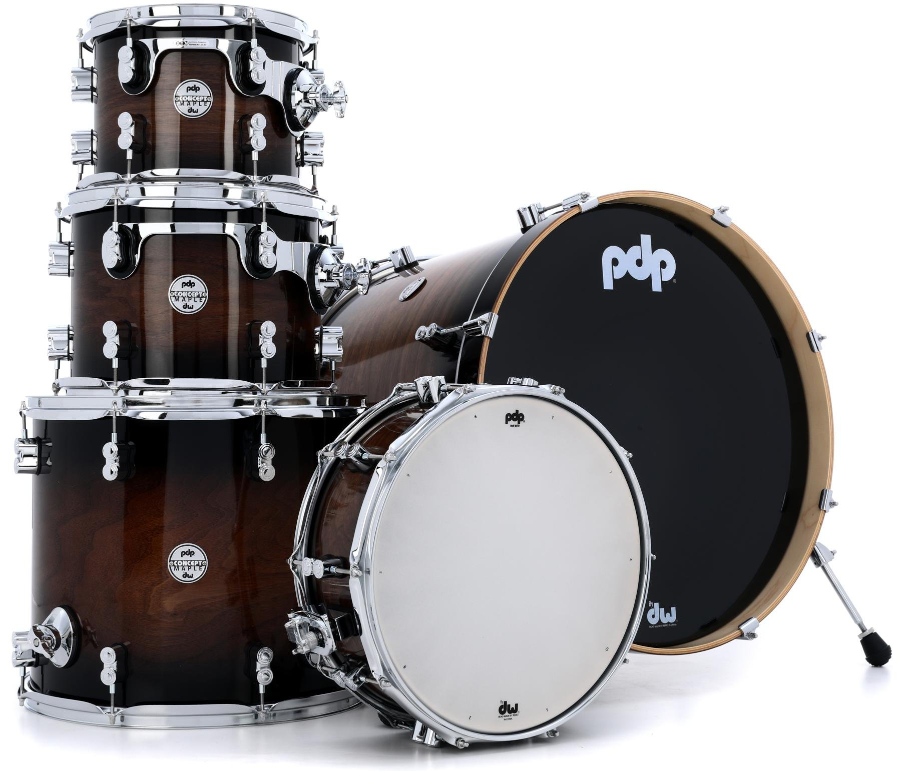 pdp concept maple exotic series 5 shell pack walnut to charcoal burst