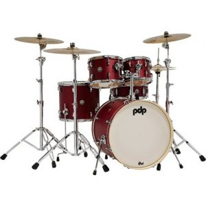 pdp by dw spectrum series 5 piece shell pack with 22 inches bass drum cherry stain