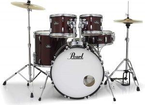 pearl roadshow 5 piece new fusion drum set wine red