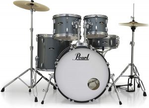 pearl roadshow 5 piece rock drum set with hardware and cymbals 22 bass drum.