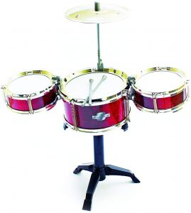fun central desktop drum set musical instrument toy for kids & toddlers red
